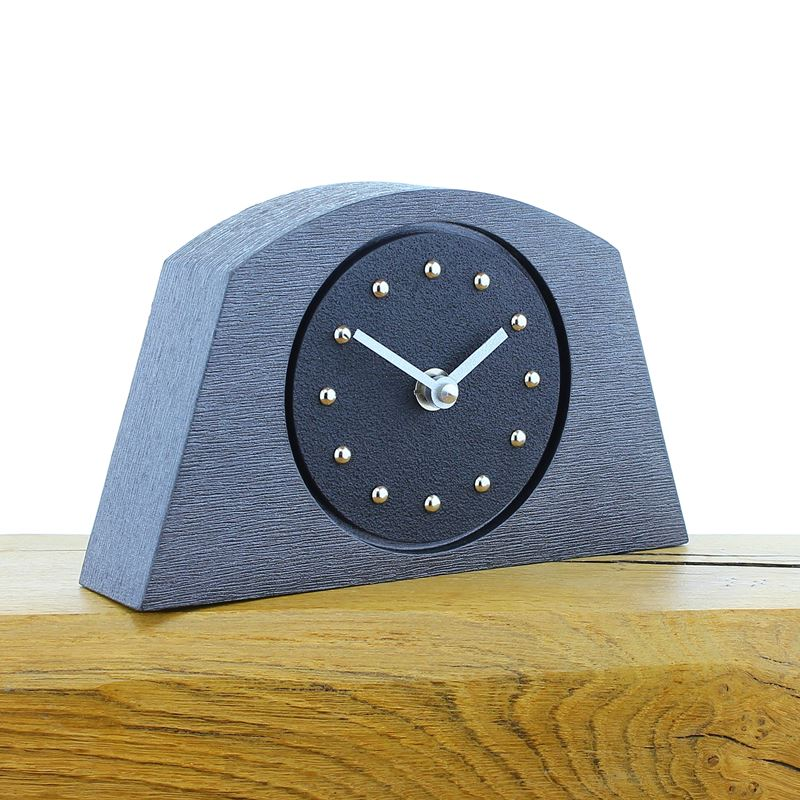 Arched Black Mantel Clock, Pewter Frame, Silver Studs and Hands
