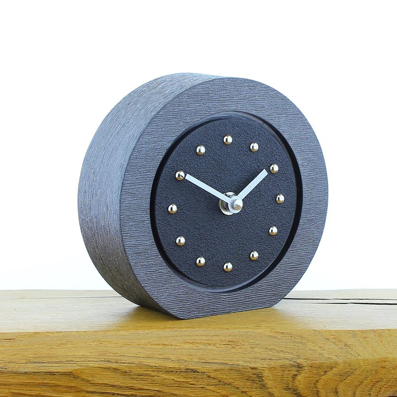 Round Black Mantel Clock, Pewter Frame, Silver Studs and Hands