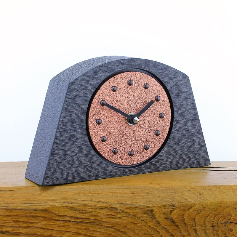 Arched Bright Copper Mantel Clock, Pewter Frame, Antique Studs, Black Hands