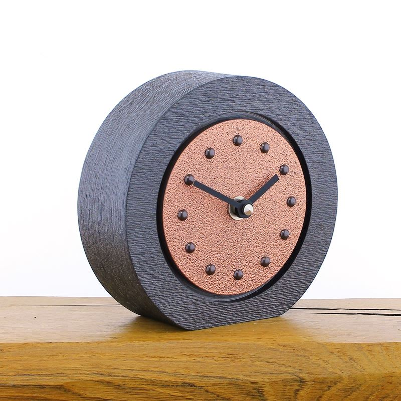 Round Bright Copper Mantel Clock, Pewter Frame, Antique Studs, Black Hands