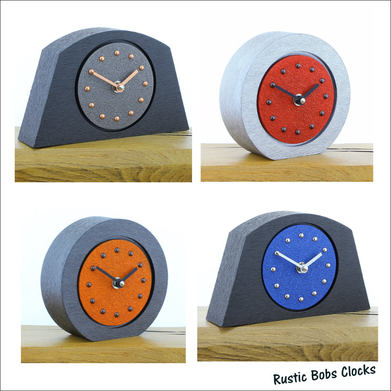 Choose from a Wide Range of Colourful Sandy Textured Mantel Clocks in Various Styles - Orange - Red - Yellow - green - Blue. Or Design your own