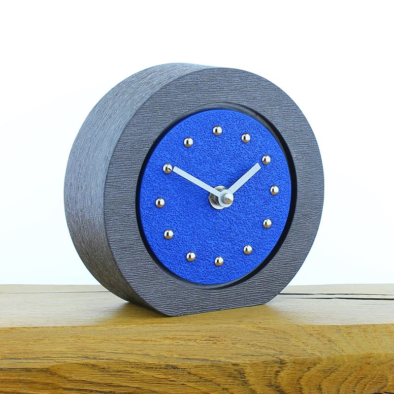 Round Dark Blue Mantel Clock, Pewter Frame, Silver Studs and Hands