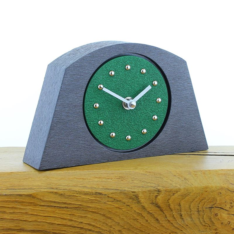 Arched Dark Green Mantel Clock, Pewter Frame, Silver Studs and Hands