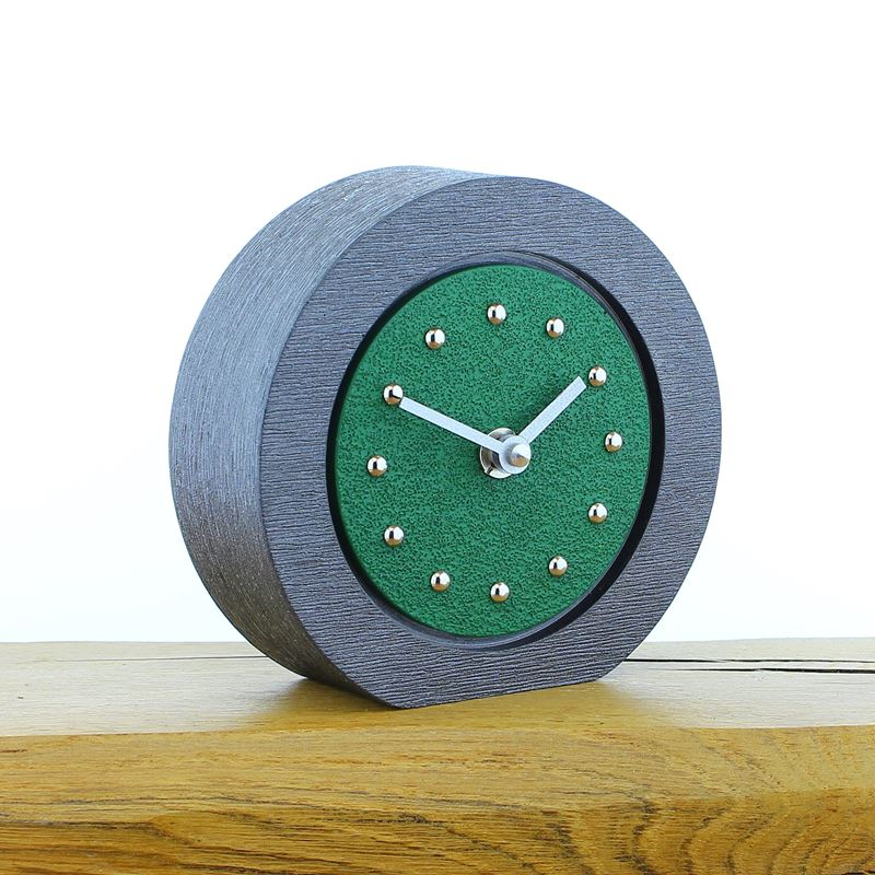 Round Dark Green Mantel Clock, Pewter Frame, Silver Studs and Hands