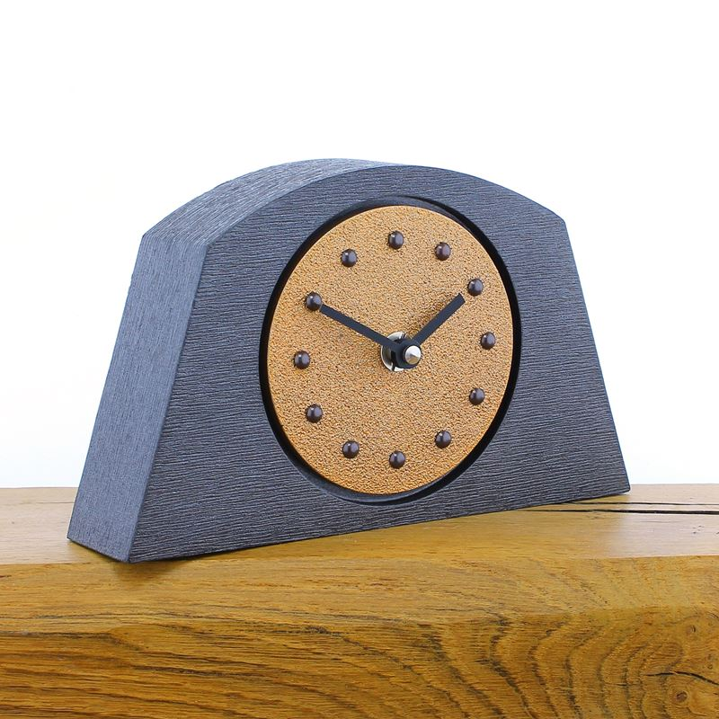 Arched Dull Copper Mantel Clock, Pewter Frame, Antique Studs, Black Hands