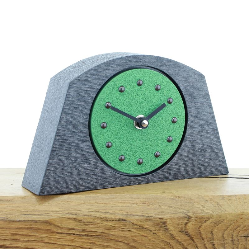 Arched Light Green Mantel Clock, Pewter Frame, Antique Studs, Black Hands