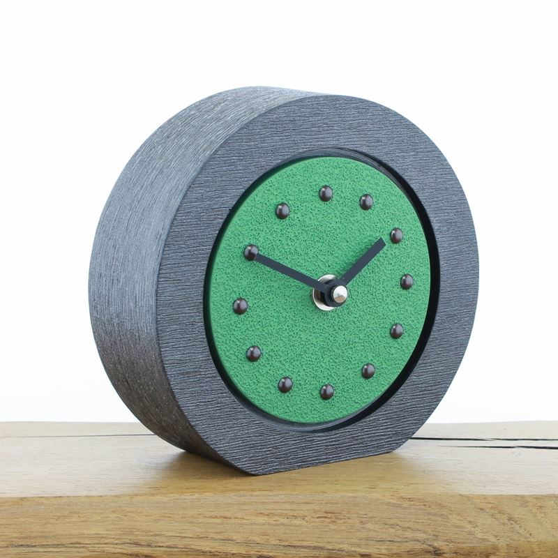 Round Light Green Mantel Clock, Pewter Frame, Antique Studs, Black Hands