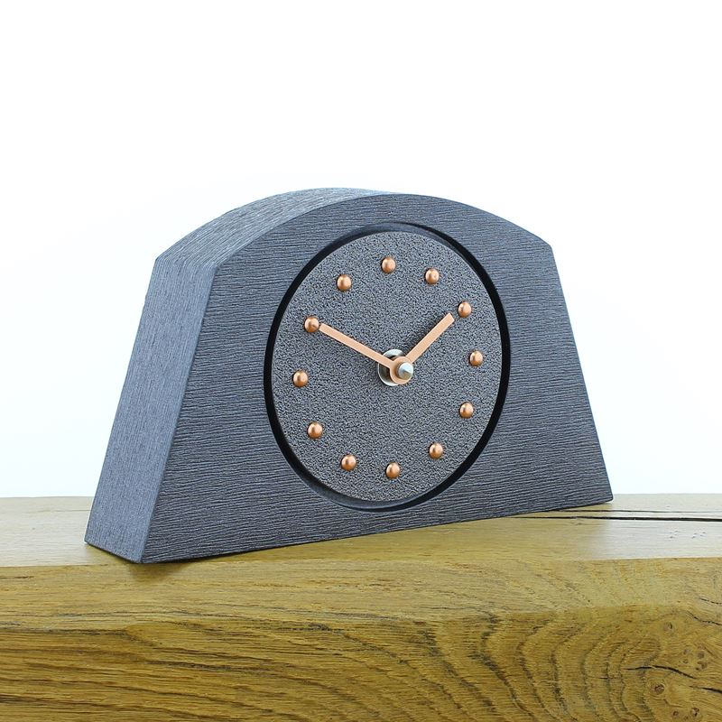 Arched Pewter Mantel Clock, Pewter Frame, Copper Studs and Hands