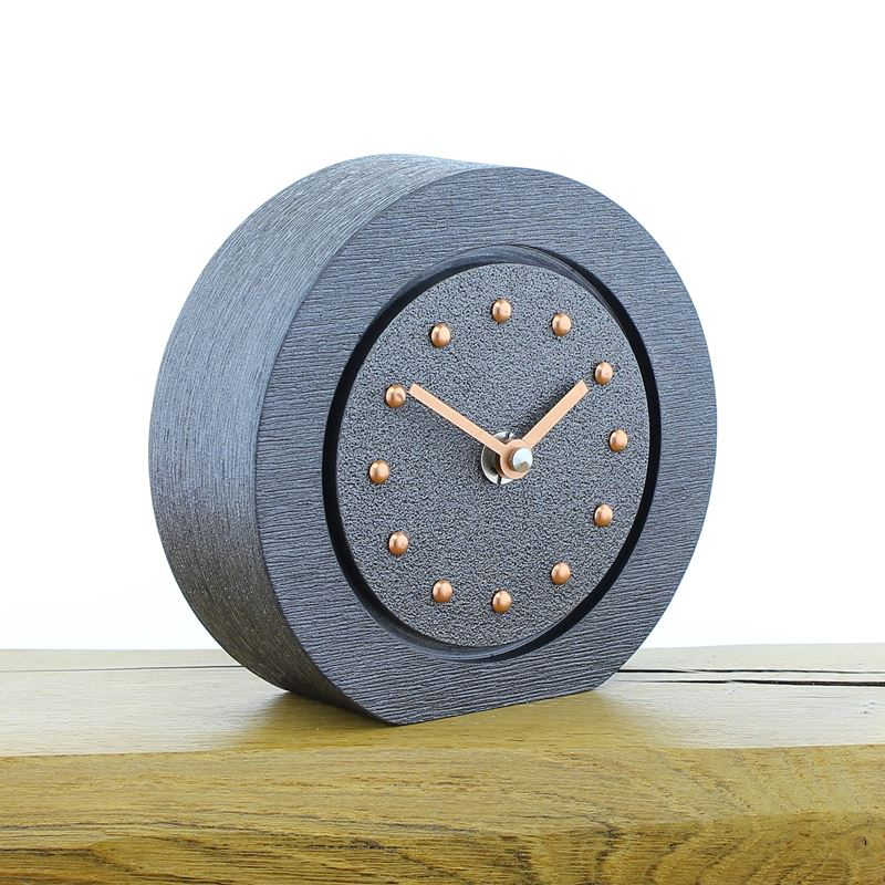 Round Pewter Mantel Clock, Pewter Frame, Copper Studs and Hands