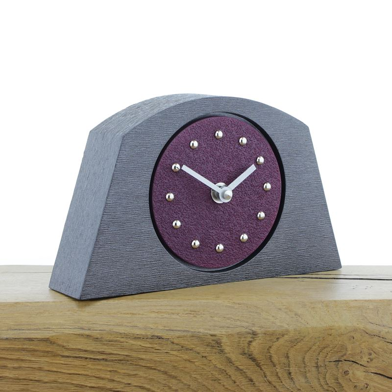 Arched Purple Mantel Clock, Pewter Frame, Silver Studs and Hands