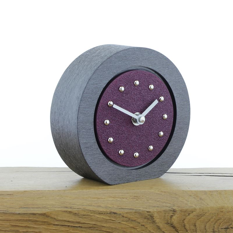 Round Purple Mantel Clock, Pewter Frame, Silver Studs and Hands