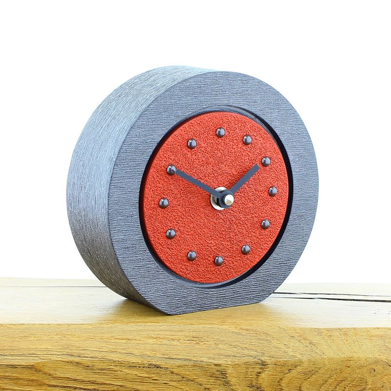 Round Red Mantel Clock, Pewter Frame, Antique Studs, Black Hands
