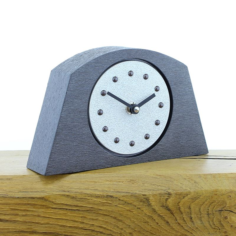 Arched White Mantel Clock, Pewter Frame, Antique Studs, Black Hands