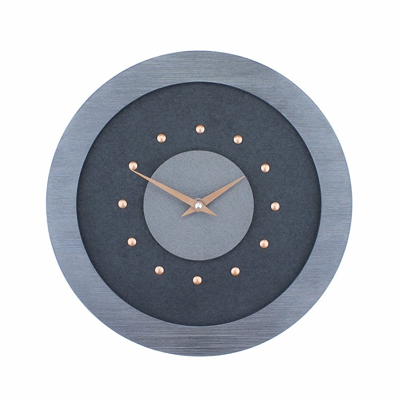 Black Wall Clock with Metallic Grey Centre in Pewter Coloured Frame, Copper Studs and Hands.