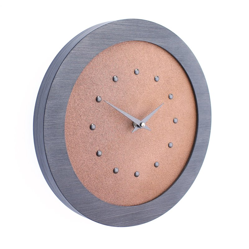 Bright Copper Coloured Wall Clock in Pewter Coloured Frame, Pewter Coloured Studs and Hands.