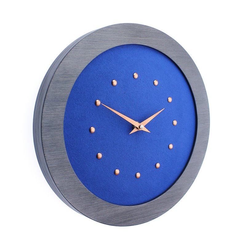 Dark Blue Wall Clock in Pewter Coloured Frame, Copper Studs and Hands.