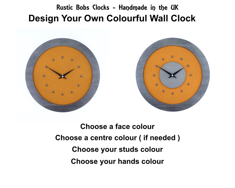 Design Your own Colourful Wall Clock, Many Colours to Choose From