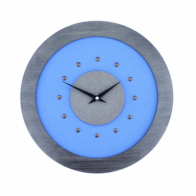 Light Blue Wall Clock with Metallic Grey Centre in Pewter Coloured Frame, Antique Studs and Black Hands.
