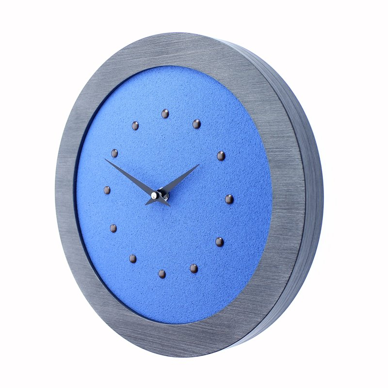 Light Blue Wall Clock in Pewter Coloured Frame, Antique Studs and Black Hands.