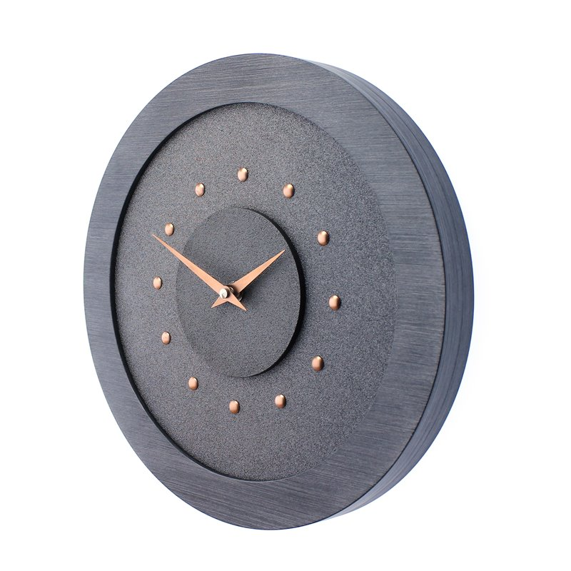Metallic Gray Wall Clock with Metallic Grey Centre in Pewter Coloured Frame, Copper Studs and Hands.