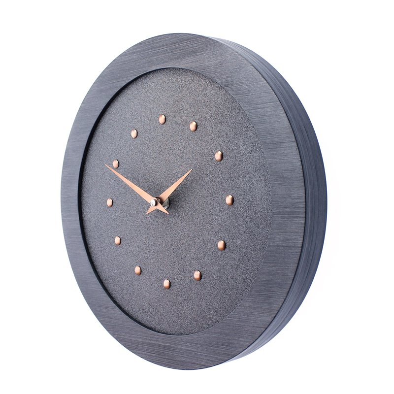 Metallic Gray Wall Clock in Pewter Coloured Frame, Copper Studs and Hands.