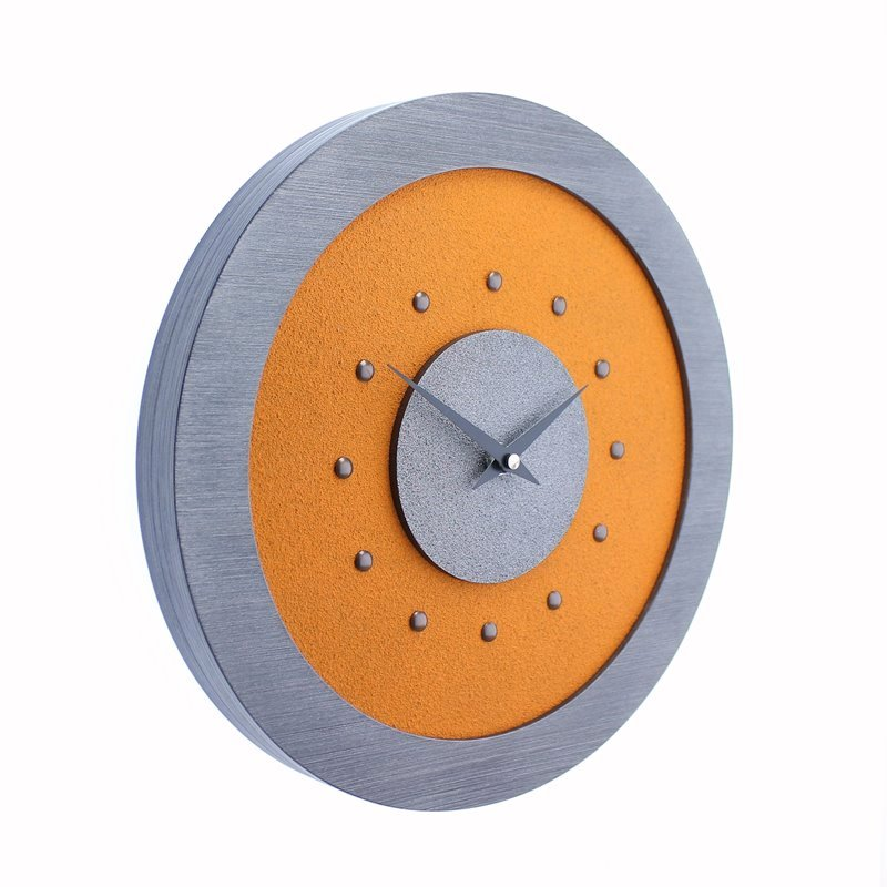 Orange Wall Clock with Metallic Grey Centre in Pewter Coloured Frame, Antique Studs and Black Hands.