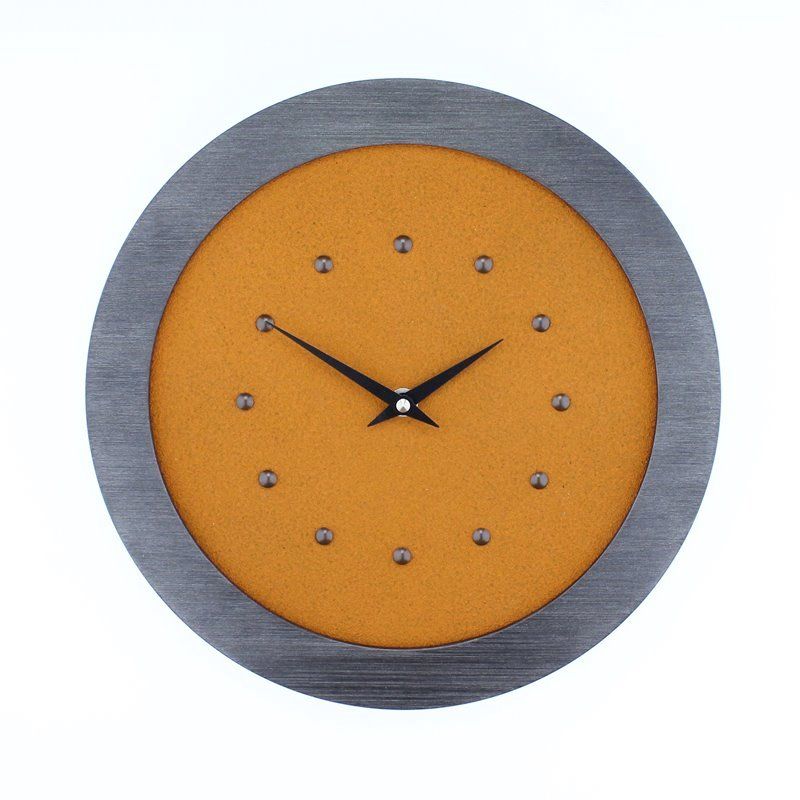 Orange Wall Clock in Pewter Coloured Frame, Antique Studs and Black Hands.