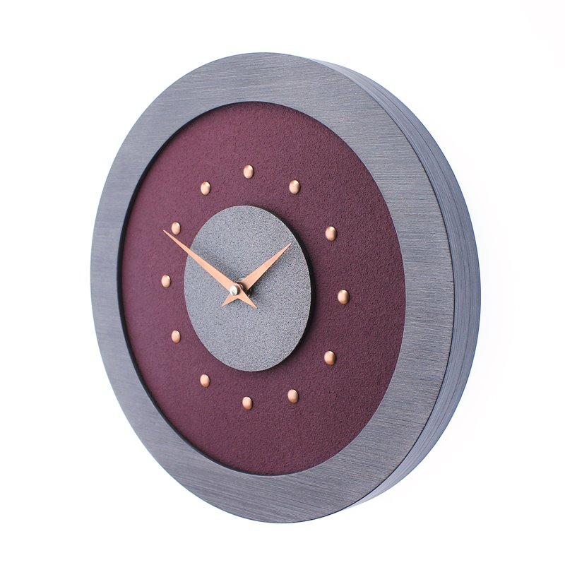 Purple Wall Clock with Metallic Grey Centre in Pewter Coloured Frame, Copper Studs and Hands.