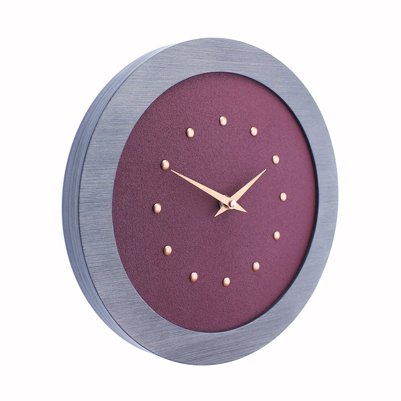 Purple Wall Clock in Pewter Coloured Frame, Copper Studs and Hands.