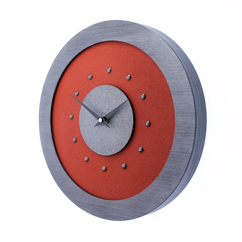 Red Wall Clock with Metallic Grey Centre in Pewter Coloured Frame, Antique Studs and Black Hands.