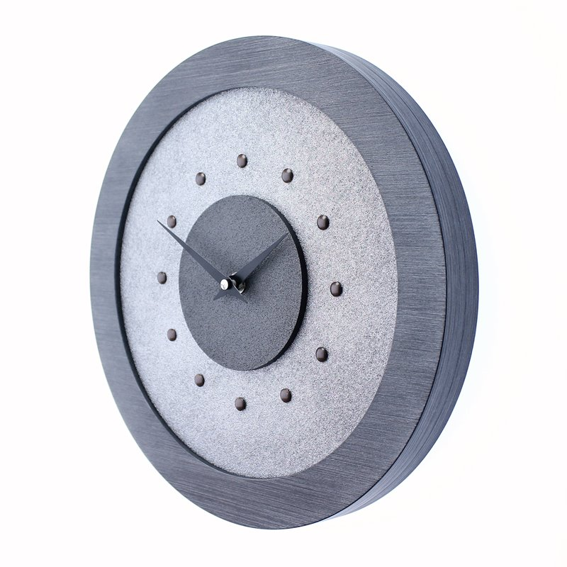 Silver Wall Clock with Metallic Grey Centre in Pewter Coloured Frame, Antique Studs and Black Hands.