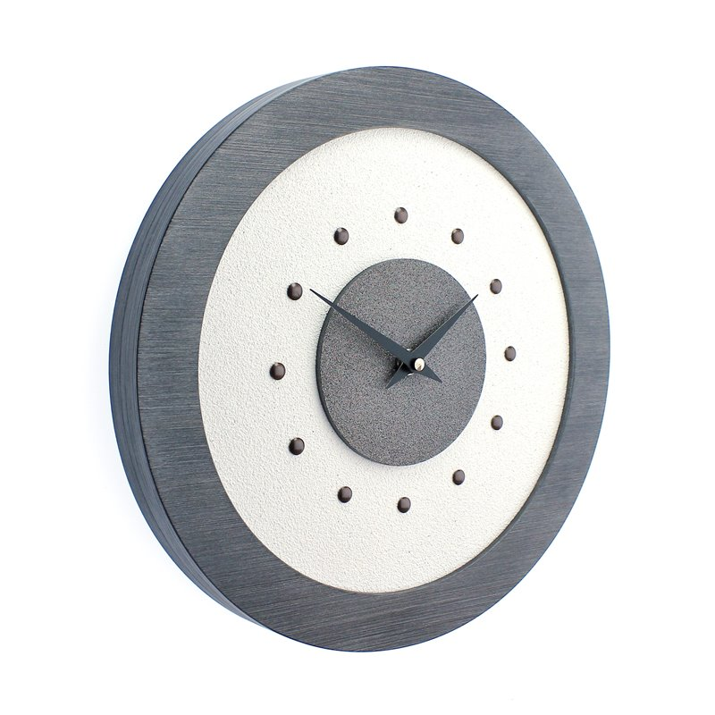 White Wall Clock with Metallic Grey Centre in Pewter Coloured Frame, Antique Studs and Black Hands.