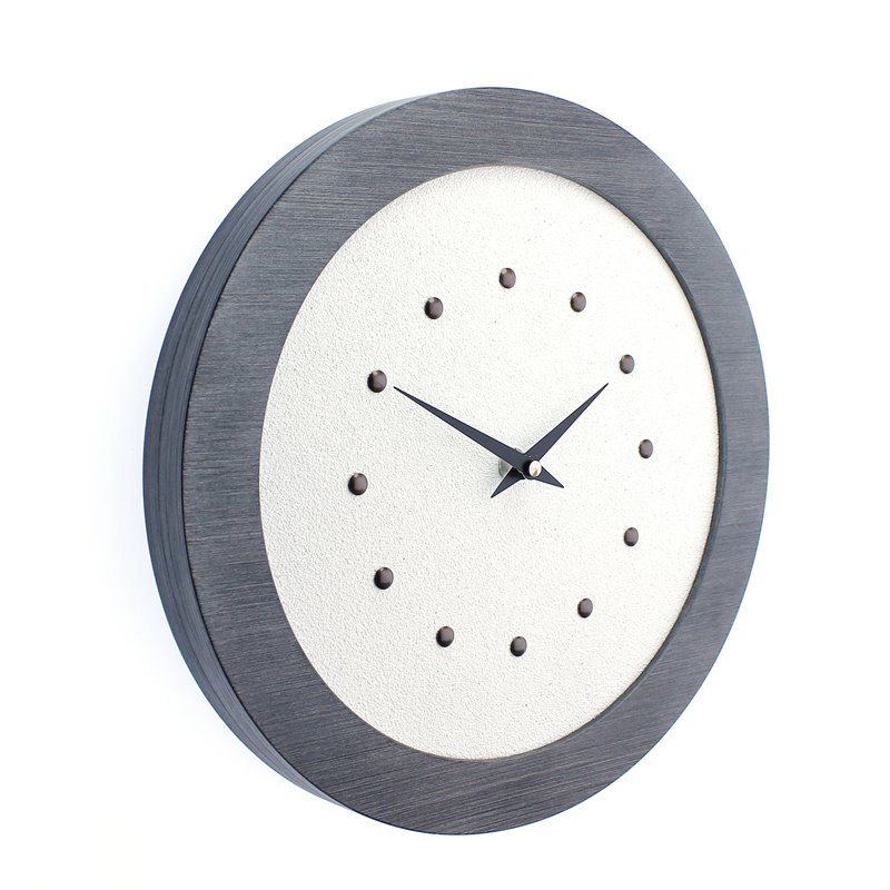 White Wall Clock in Pewter Coloured Frame, Antique Studs and Black Hands.