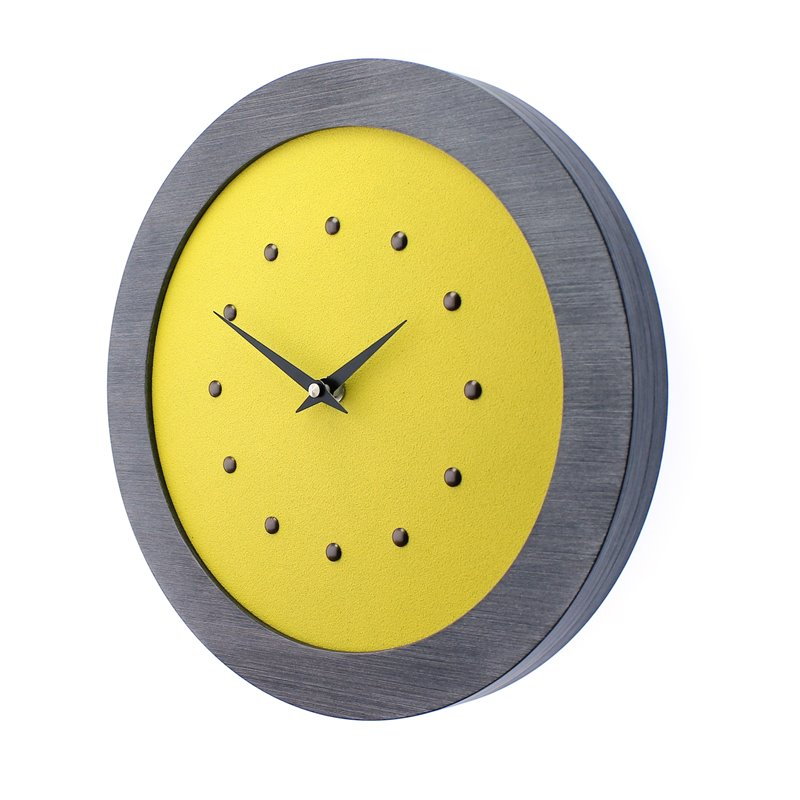 Yellow Wall Clock in Pewter Coloured Frame, Antique Studs and Black Hands.