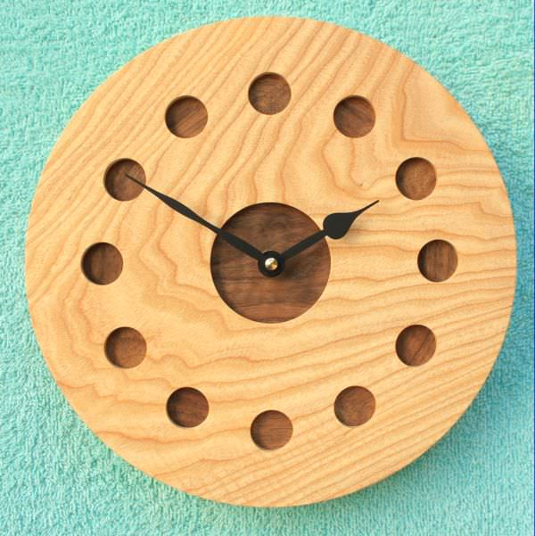 Ash and Walnut Wall Clock