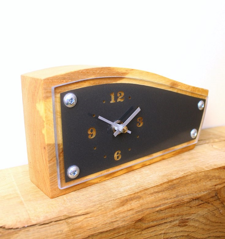 Elm Mantel Clock with Acrylic Face