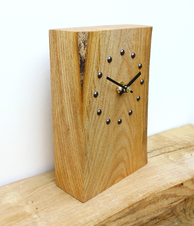 Elm Mantel Clock with Antique Studs