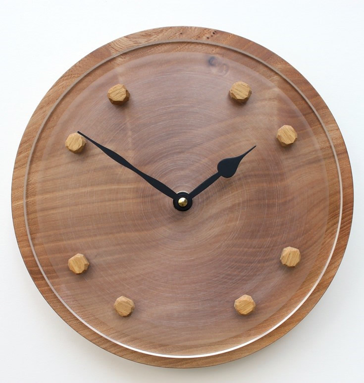 Elm Wall Clock with Acrylic Face