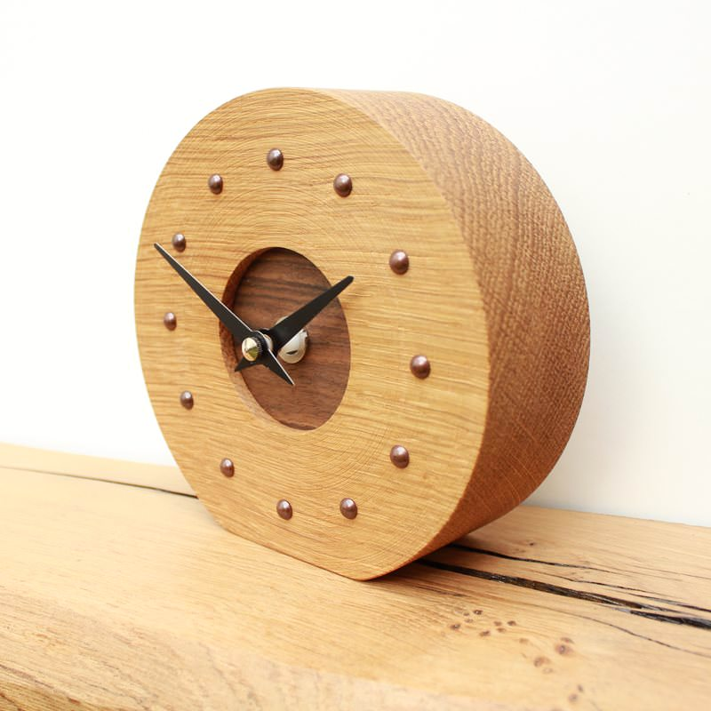 Oak and Walnut Mantel Clock