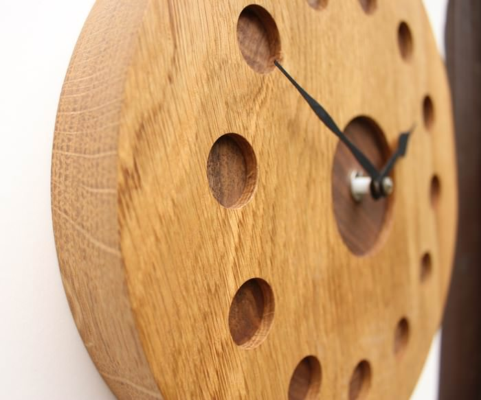 Oak and Walnut Wall Clock
