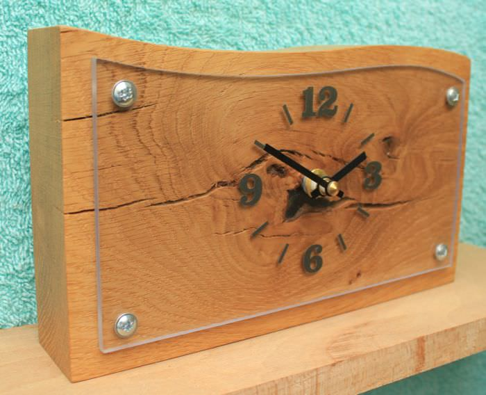 Oak and Perspex Mantel Clock