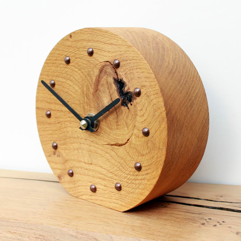 Rustic Oak Mantel Clock