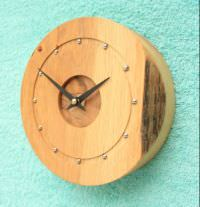 Oak Wall Clock with Rustic Edge