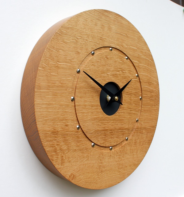 Oak Wall Clock with Silver Studs
