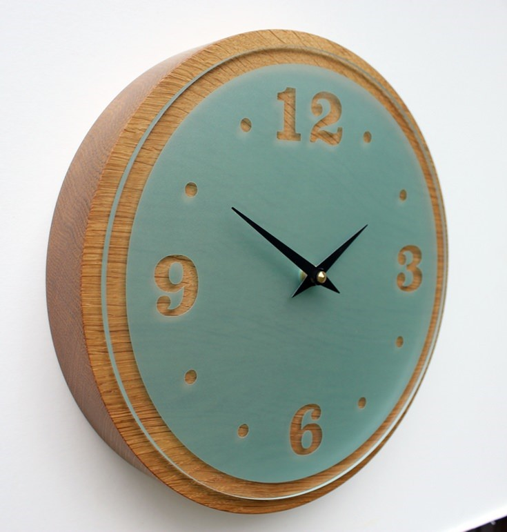 Oak Wall Clock with Light Green Acrylic Face
