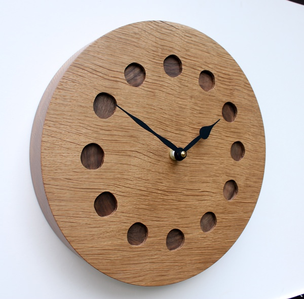 Oak Wall Clock with Inlaid Walnut