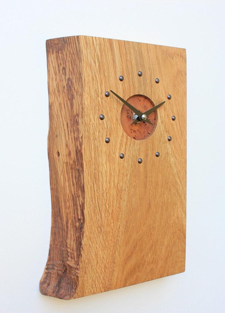 Oblong Oak Wall Clock with a Burr Elm Face