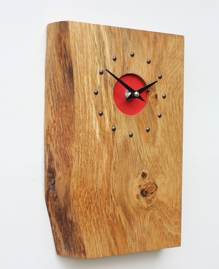 Oblong Oak Wall Clock with Red Face