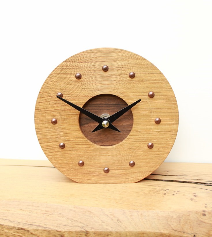 Round Oak mantel Clock with Walnut Face and Antique Studs
