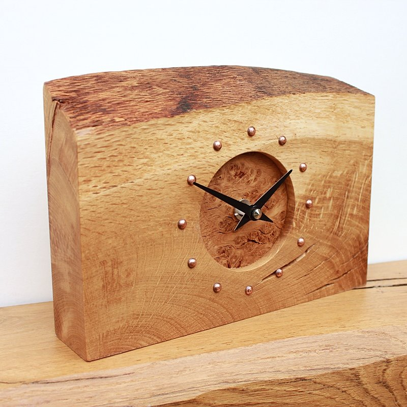 Rustic Oak Mantel Clock with Burr Oak face